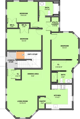 Second Floor Floorplan – Unit 3